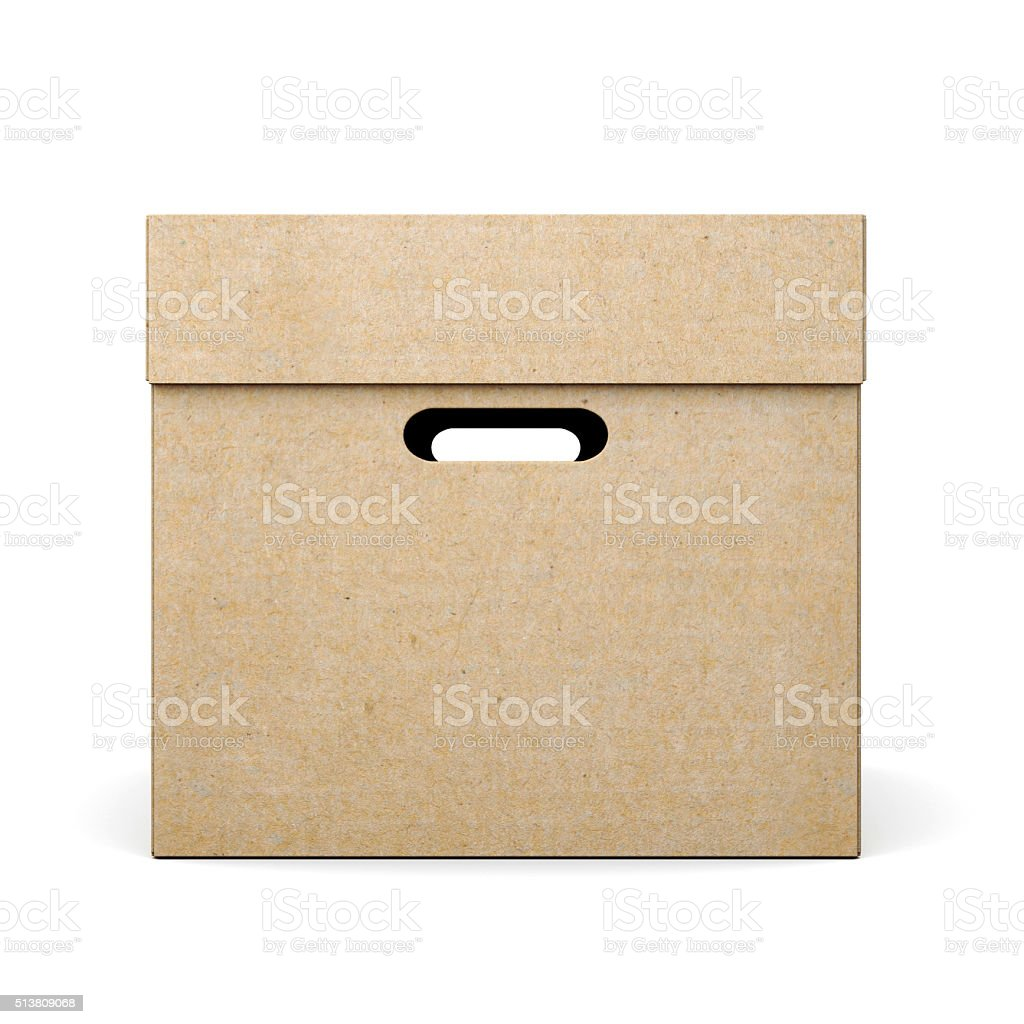 Cardboard box with lid on white background. 3d rendering stock photo