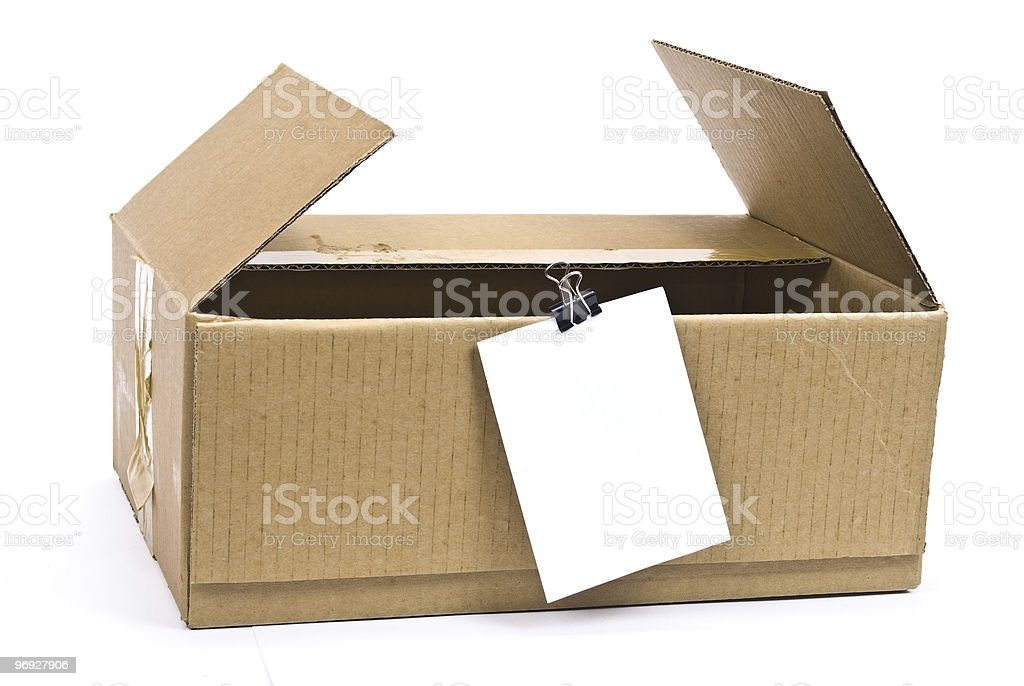 Cardboard box with note royalty-free stock photo
