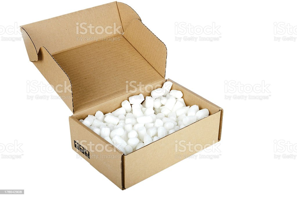 Cardboard box with packing material royalty-free stock photo