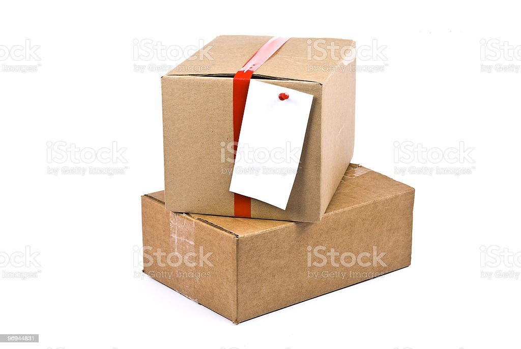 Cardboard box with pinned note royalty-free stock photo