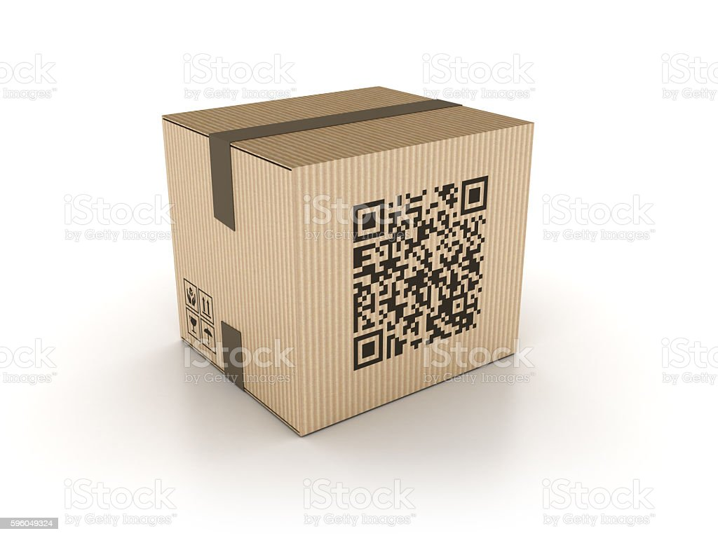 Cardboard Box with QR Code Stamp royalty-free stock photo