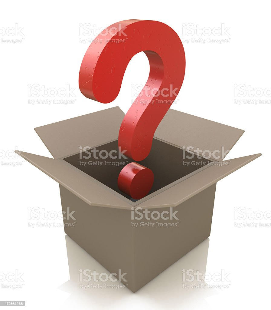 Cardboard box with question mark stock photo