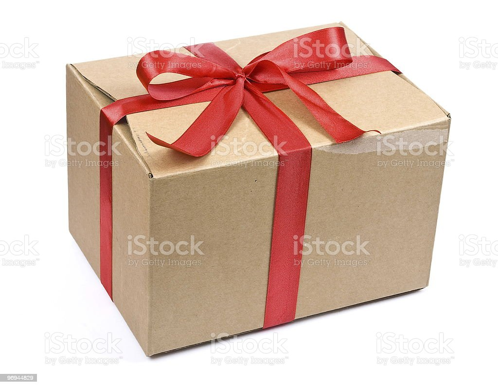 Cardboard box with red bow royalty-free stock photo