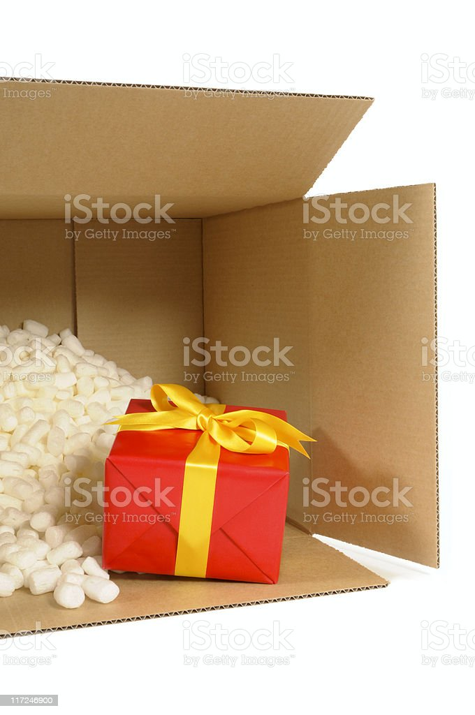 Cardboard box with red gift (XL) royalty-free stock photo