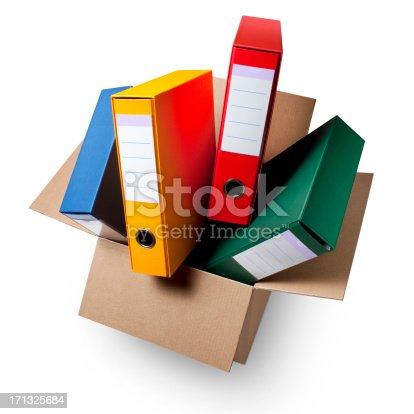 istock Cardboard box with ring binders. 171325684
