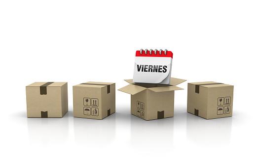 Cardboard Box with VIERNES Calendar - Spanish Word - 3D Rendering