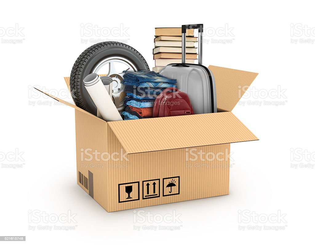 cardboard boxe with books, bag, weel stock photo