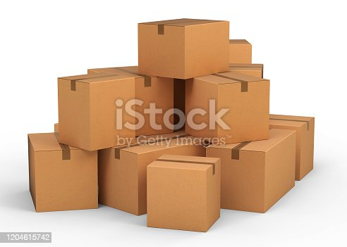 cardboard boxes, 3d, isolated, white background