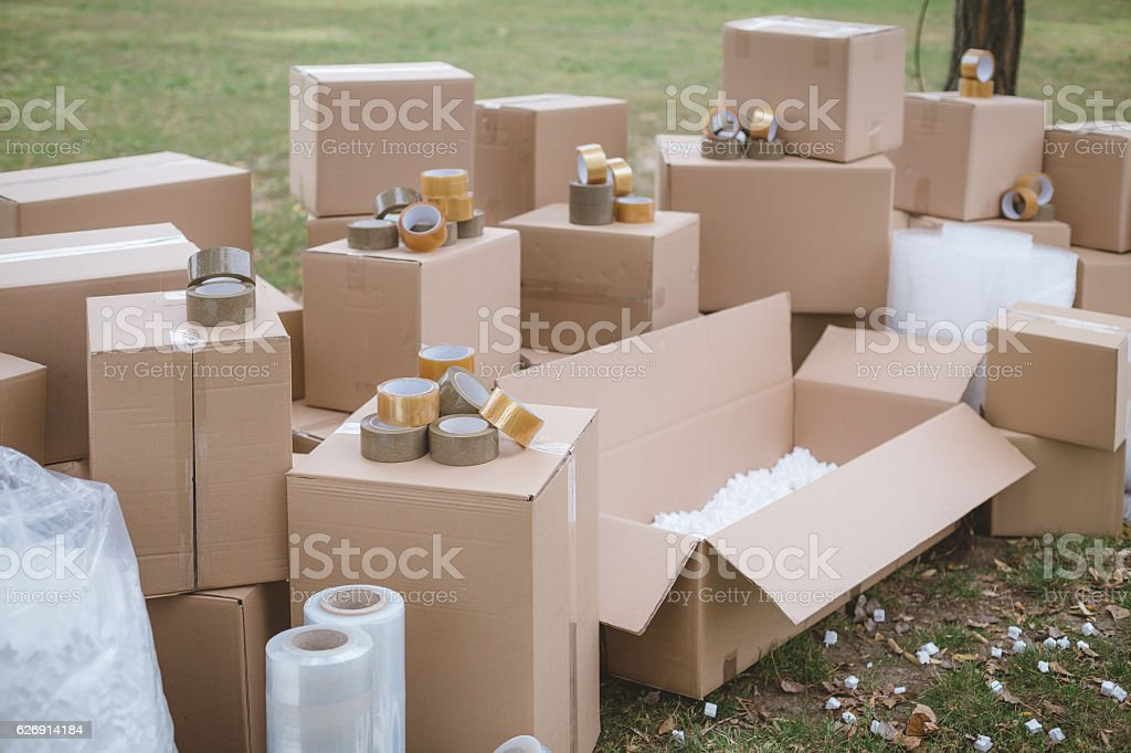Cardboard boxes and packaging supply for moving stock photo