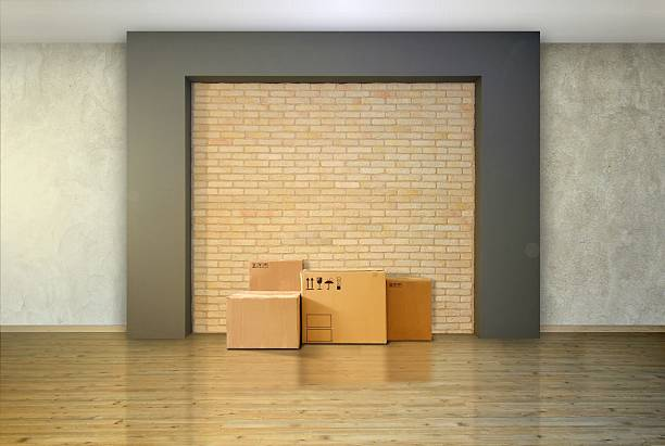 Cardboard Boxes at the Empty Floor