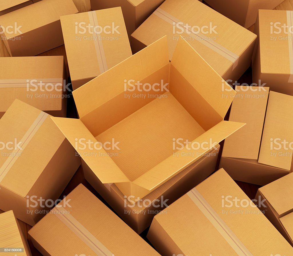 Cardboard boxes background. stock photo