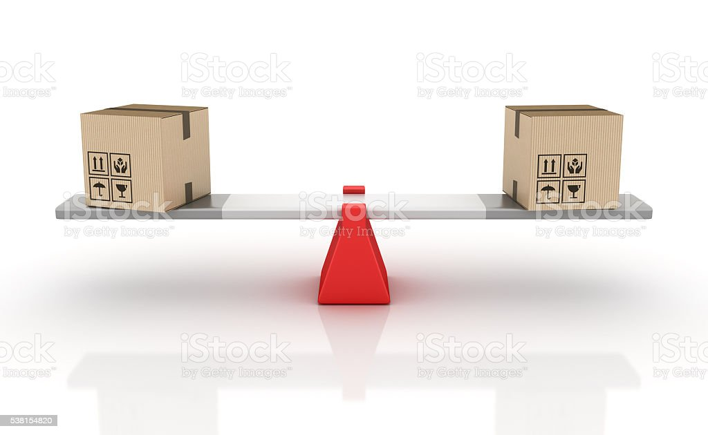 Cardboard Boxes Balancing on a Seesaw stock photo