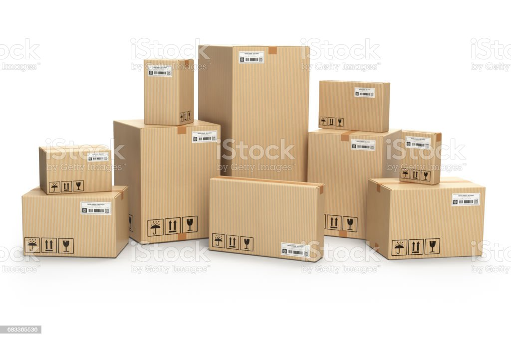Cardboard boxes. Delivery, cargo, logistic and warehouse storage concept. stock photo