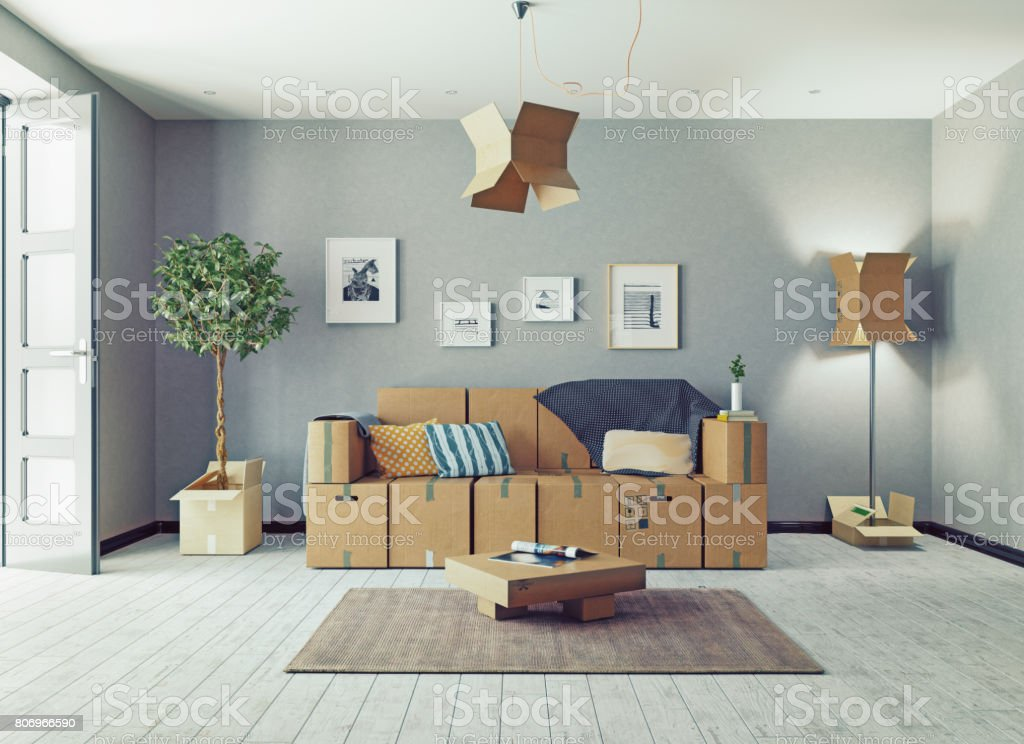 cardboard boxes design room stock photo
