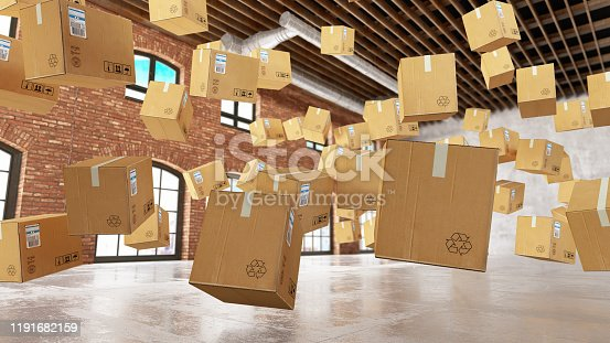 Cardboard Boxes Foating in the Air. 3d Render