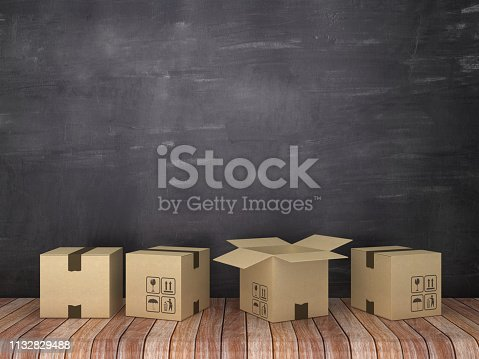 Cardboard Boxes in Room - Chalkboard Background - 3D Rendering