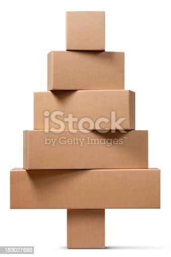 Cardboard boxes in the shape of a Christmas tree. Photo with clipping path. Similar photographs from my portfolio: