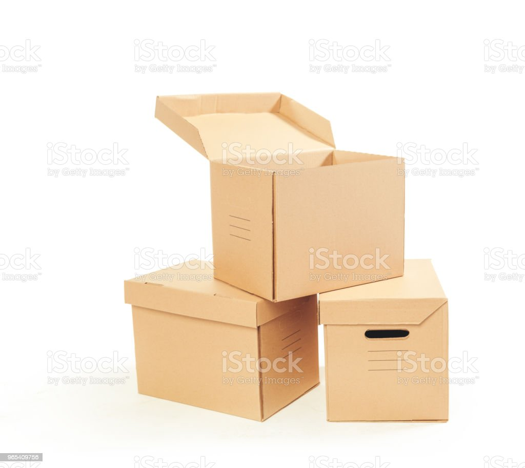 Cardboard boxes isolated over white background royalty-free stock photo