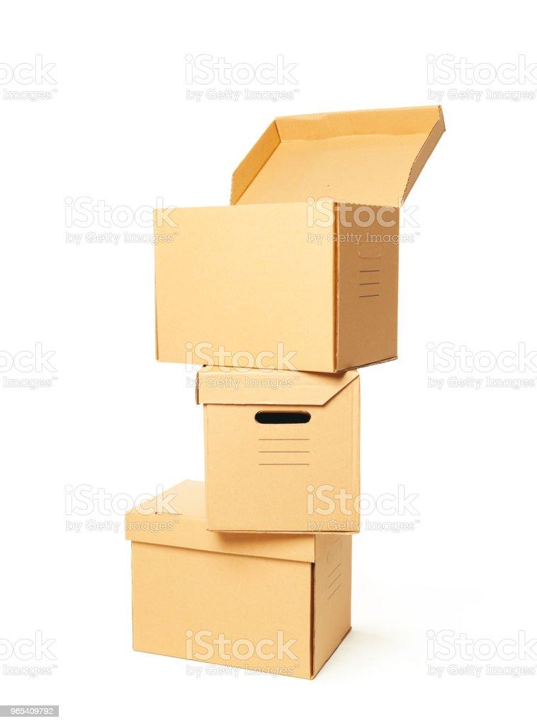Cardboard boxes isolated over white background zbiór zdjęć royalty-free