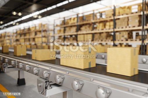 Cardboard Boxes Moving On Conveyor Belt
