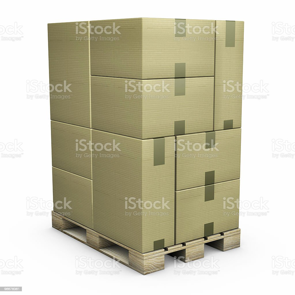 Cardboard Boxes on a pallet royalty-free stock photo