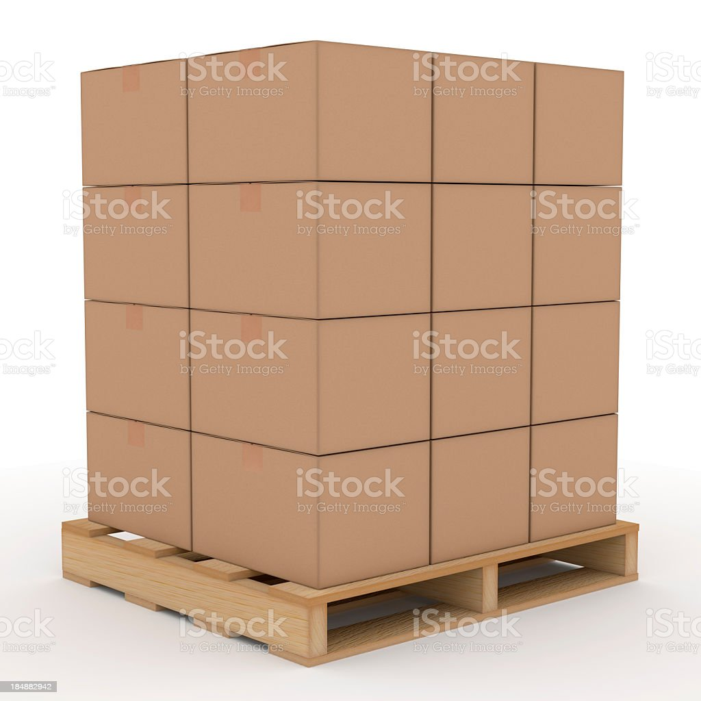Cardboard boxes on a wooden shipping pallet stock photo