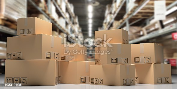 Cardboard boxes on blur storage warehouse shelves background,  Distribution, cargo and logistics concept. 3d illustration