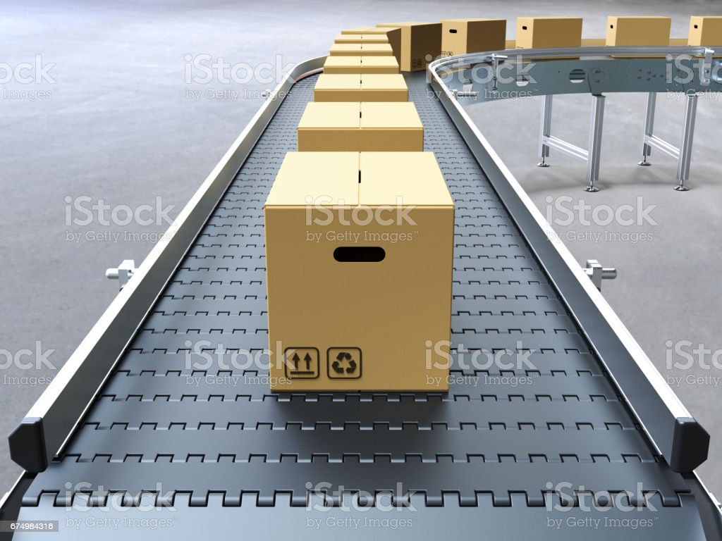 Cardboard boxes on conveyor belt stock photo