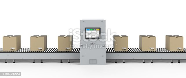 3d rendering cardboard boxes on conveyor line with machine