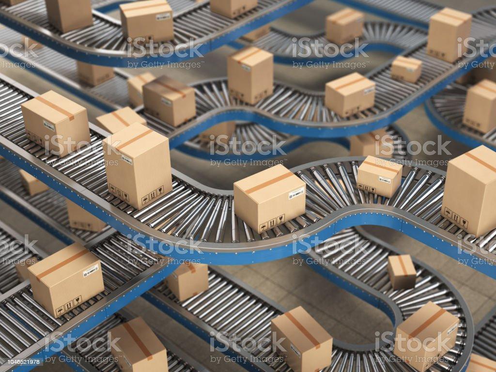 Cajas de cartón en el rodillo del transportador en el almacén de distribución, entrega y embalaje fondo de concepto de servicio. - Foto de stock de Almacén libre de derechos