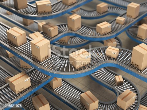 Cardboard boxes on conveyor roller in distribution warehouse, Delivery and packaging service concept background. 3d illustration