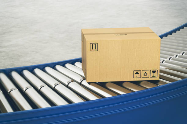 Cardboard boxes on conveyor rollers ready to be shipped by courier for distribution - foto stock