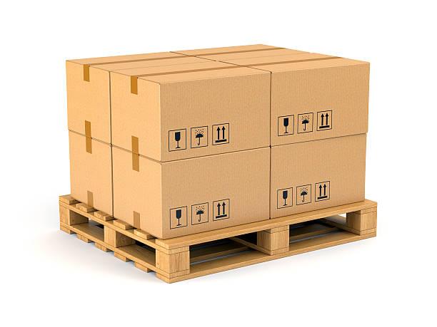 Boîtes en carton sur Palette de chargement - Photo