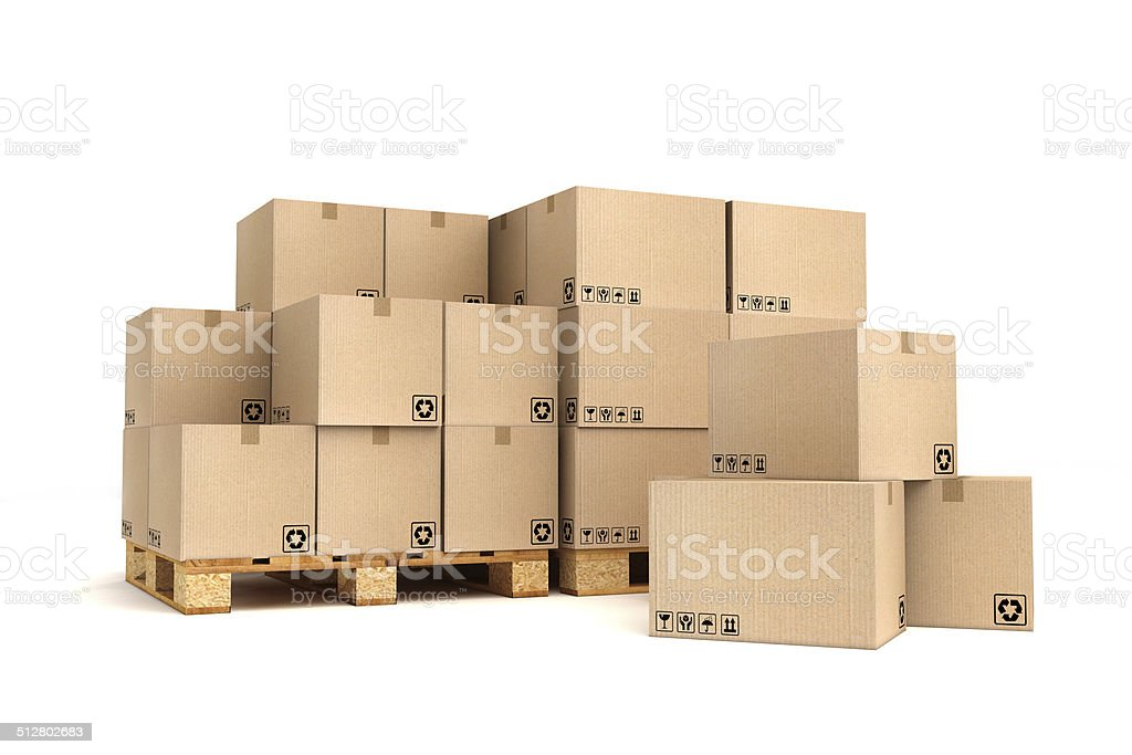 Cardboard boxes on pallet. stock photo