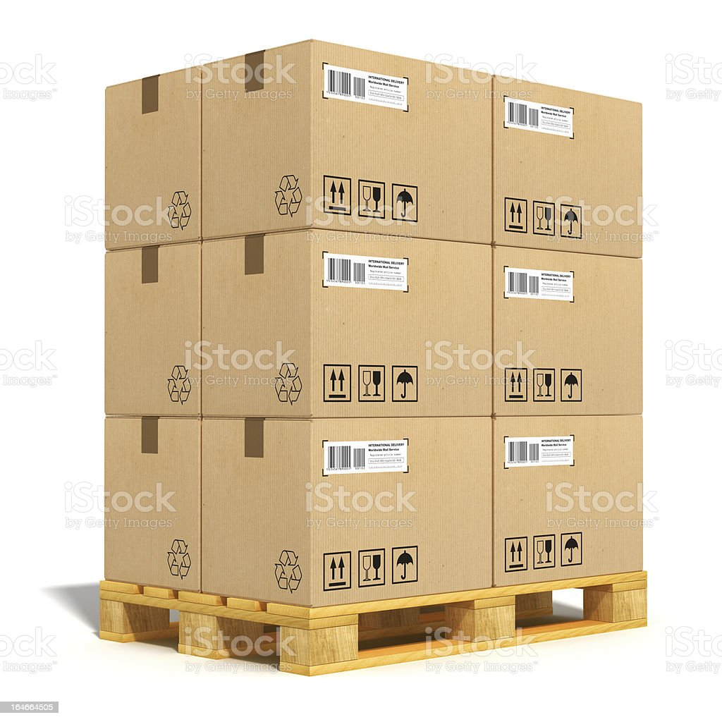 Cardboard boxes on shipping pallet stock photo