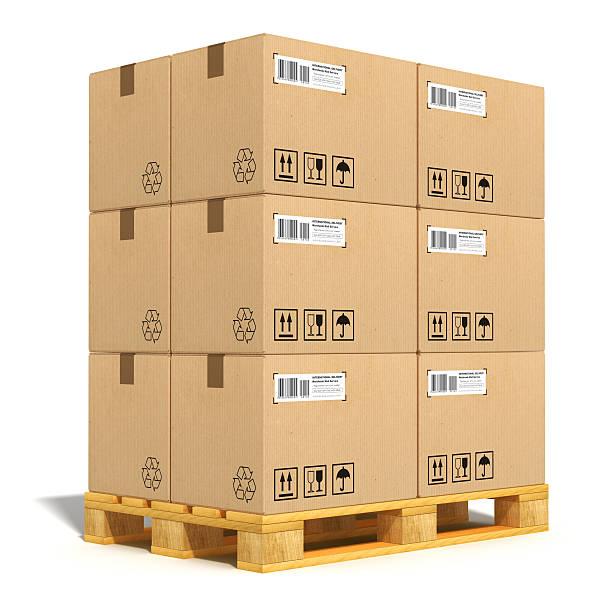 Boîtes en carton sur palette d'expédition - Photo