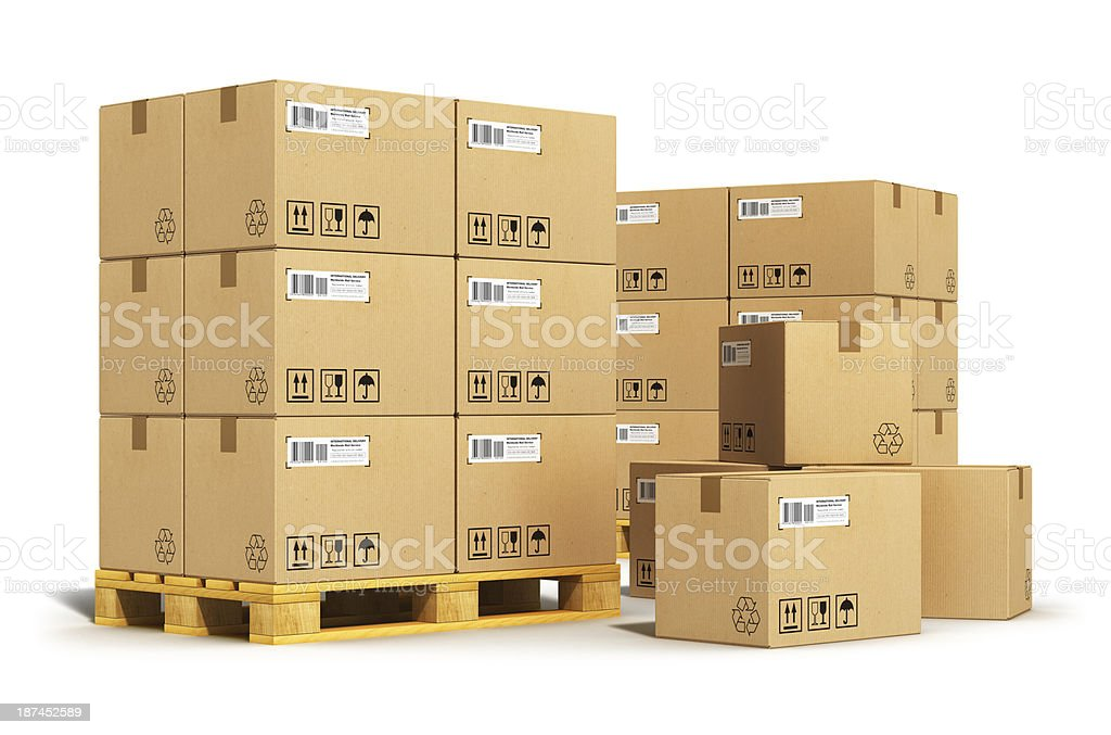Cardboard boxes on shipping pallets stock photo