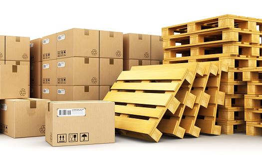 Karton Kartons Auf Paletten Versand Stockfoto und mehr Bilder von Abschicken
