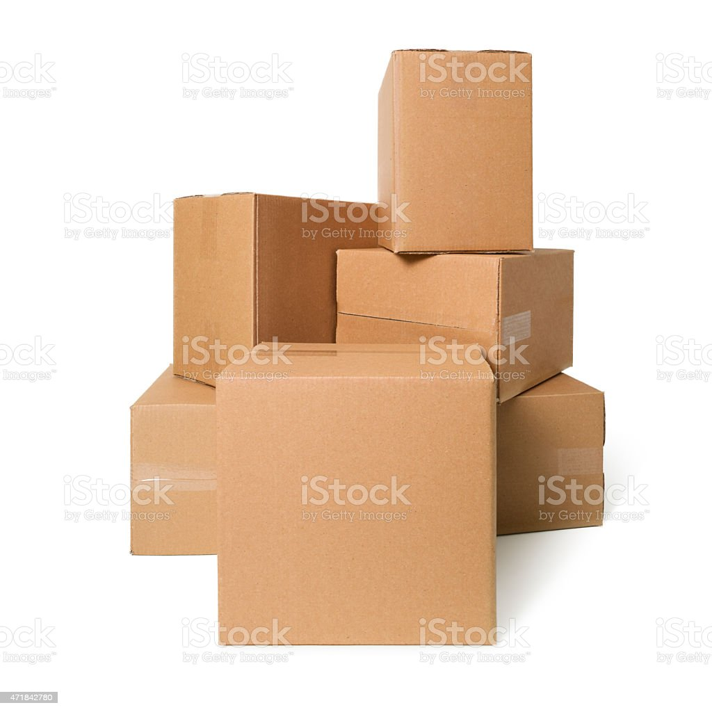Cardboard boxes on white background stock photo