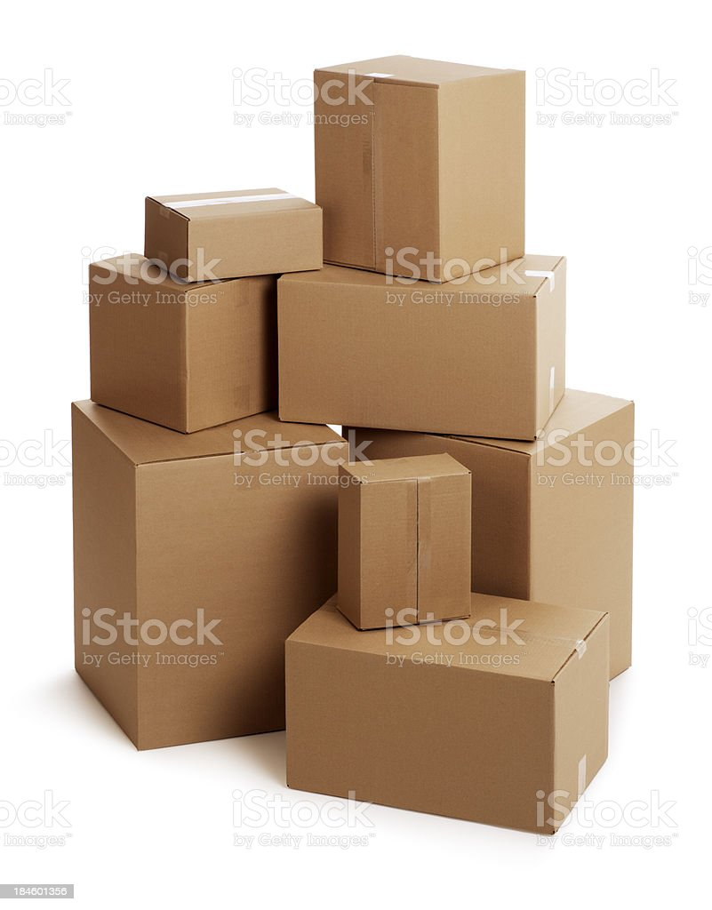 Cardboard Boxes on White stock photo