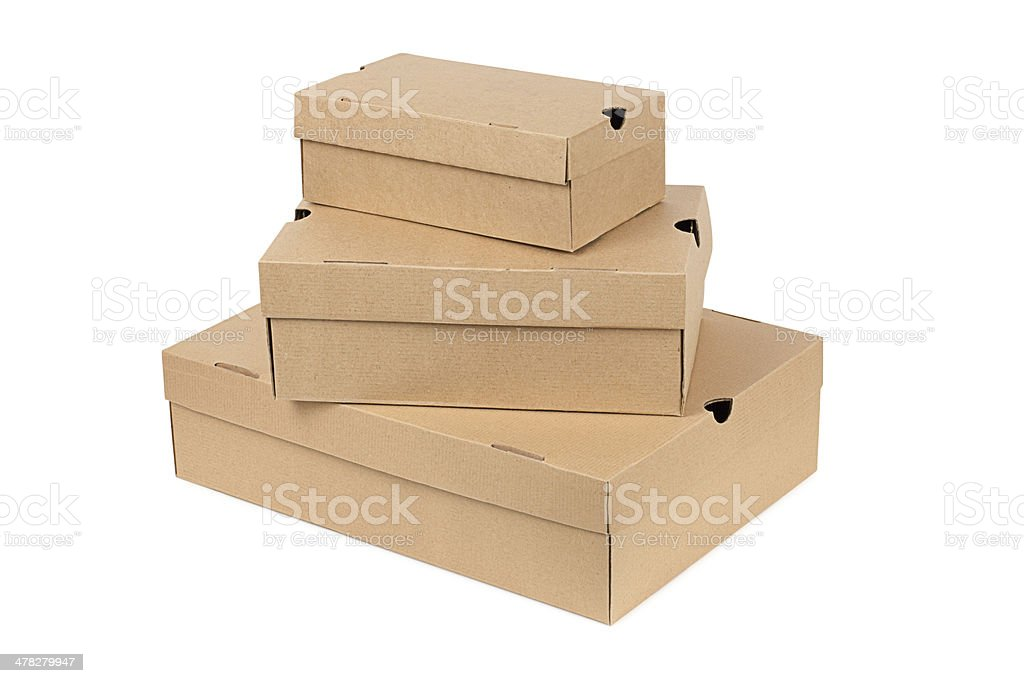 cardboard boxes on white royalty-free stock photo