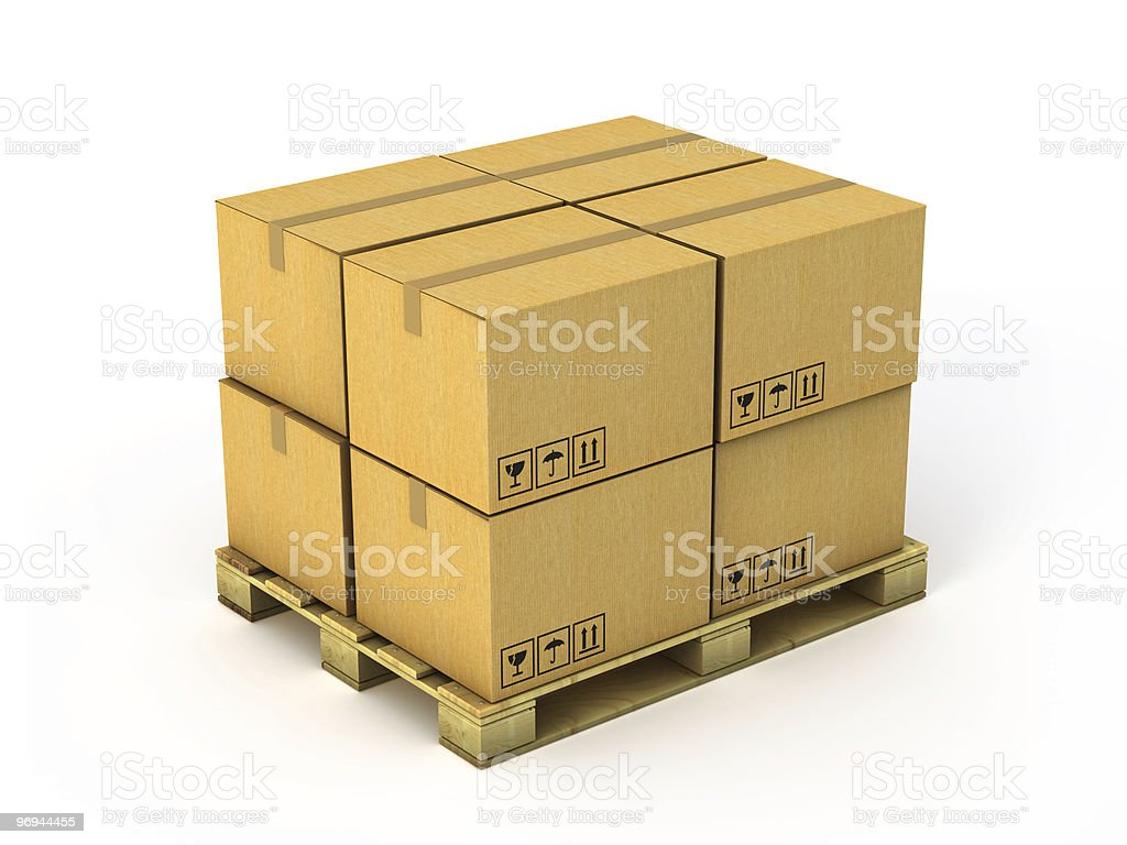 Cardboard boxes on wood pallet royalty-free stock photo