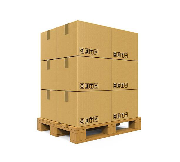 Boîtes en carton sur Palette de en bois - Photo
