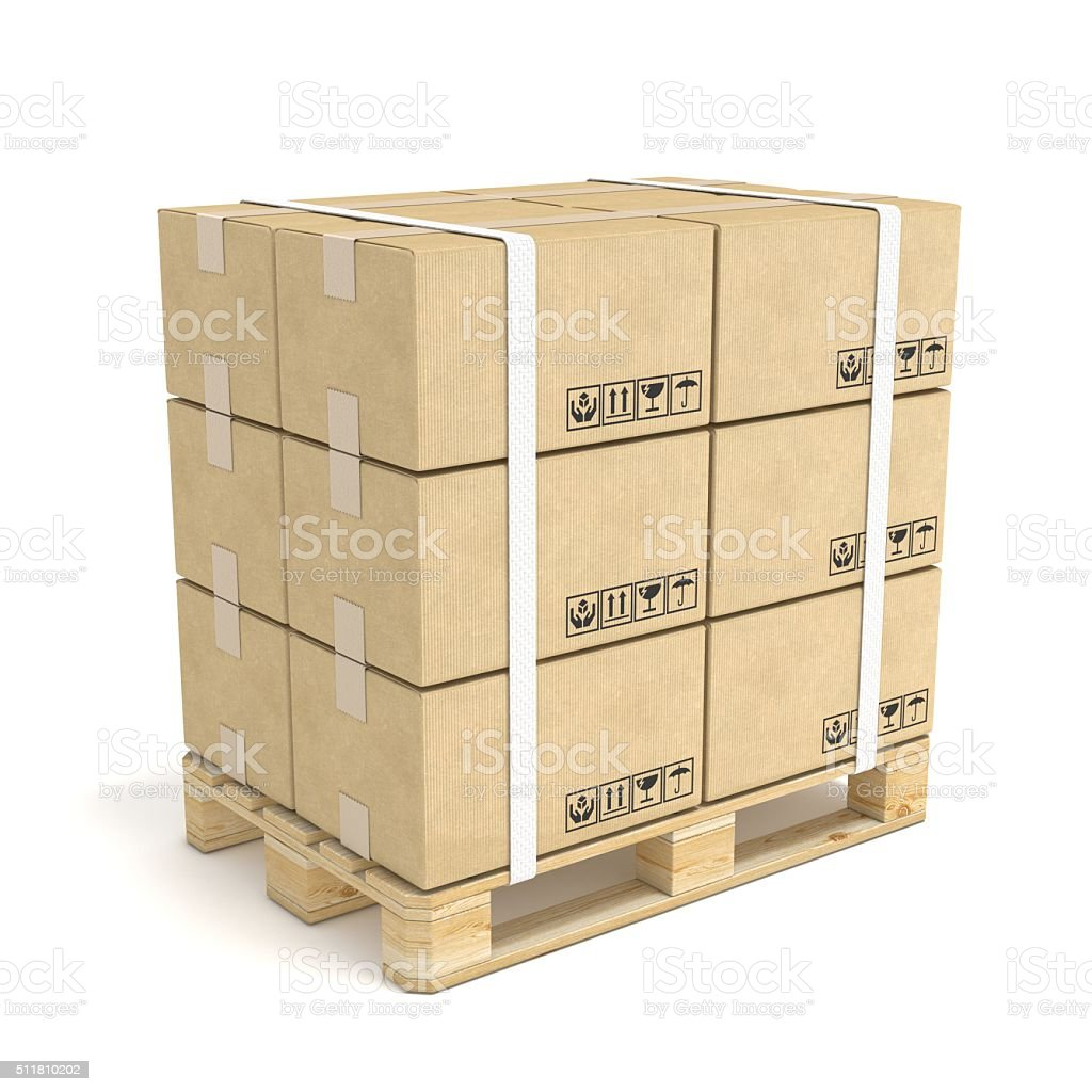 Cardboard boxes on wooden pallet. Deliver concept. 3D stock photo