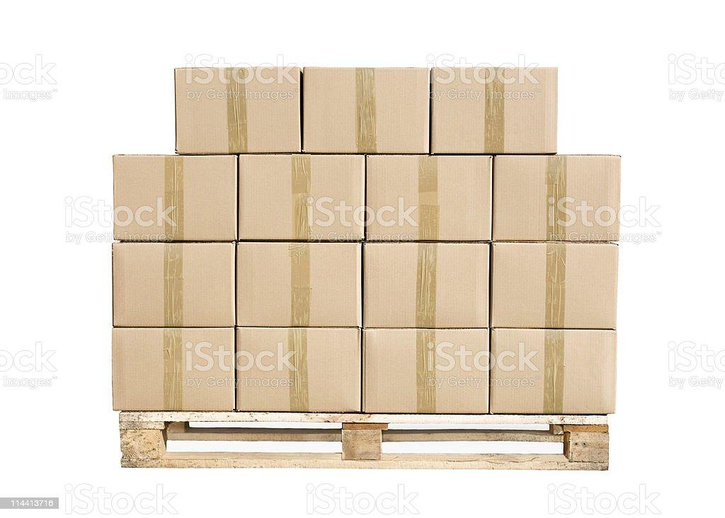 Boîtes en carton sur palette en bois - Photo