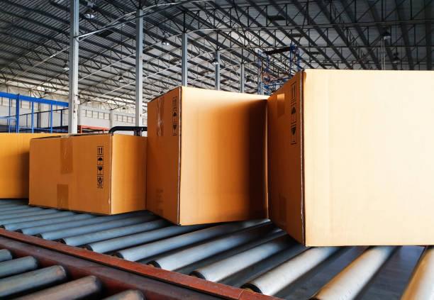 pappkartonger eller förpackningsprodukter sortering på transportband på distributionslager. - tvärsnitt bildbanksfoton och bilder