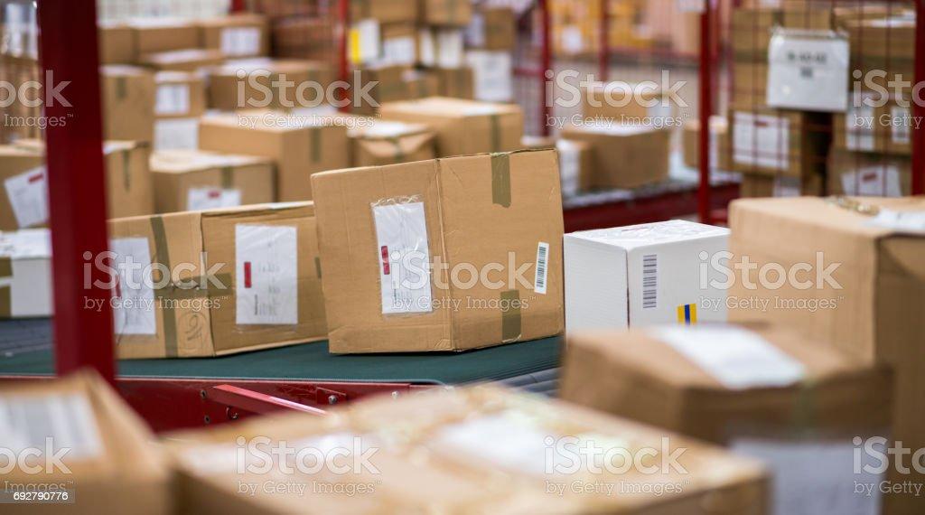 Cardboard Boxes Package On Conveyor Belt stock photo