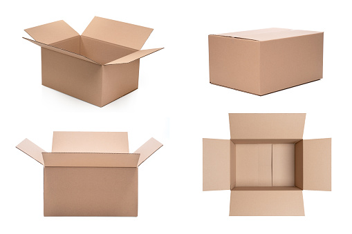 Cardboard boxes in different settings on a white background
