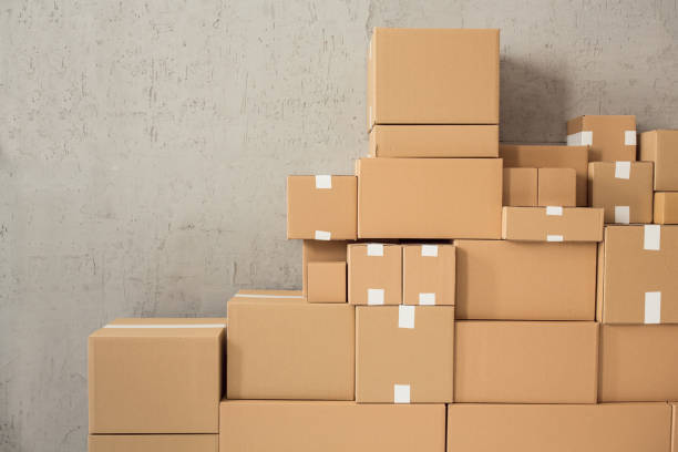 Cardboard boxes ready for delivery stock photo
