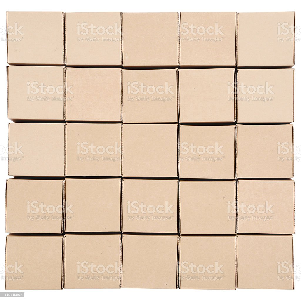 Cardboard boxes stacked up symmetrically royalty-free stock photo